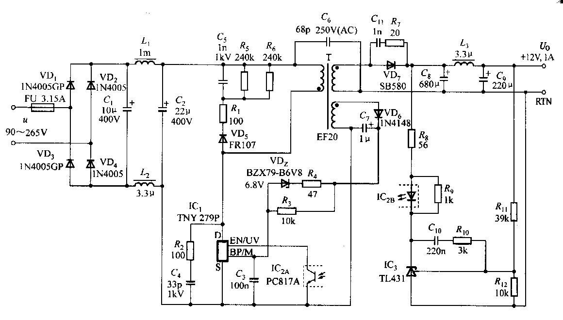 12v1a电源适配器电路图