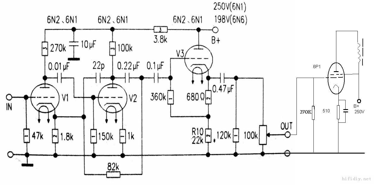 6p1线性单端电路图